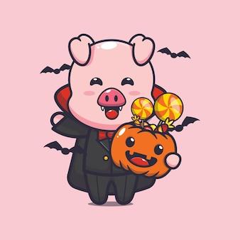 Süßer schwein-vampir, der halloween-kürbis hält süße halloween-cartoon-illustration