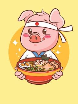 Süßer schweinekoch, der ein japanisches ramen-essen hält. zeichentrickfigur und maskottchenillustration.