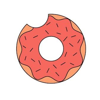 Süßer schwimmring donut geformter gummi-schwimmring im doodle-stil ein leuchtendes sommer-accessoire
