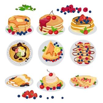 Süßer selbst gemachter lebensmittelnachtisch des pfannkuchenvektorfrühstücks und köstlicher gebackener snack