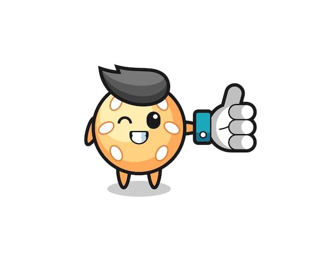 Süßer sesamball mit social-media-daumen hoch symbol, süßes stildesign für t-shirt, aufkleber, logo-element