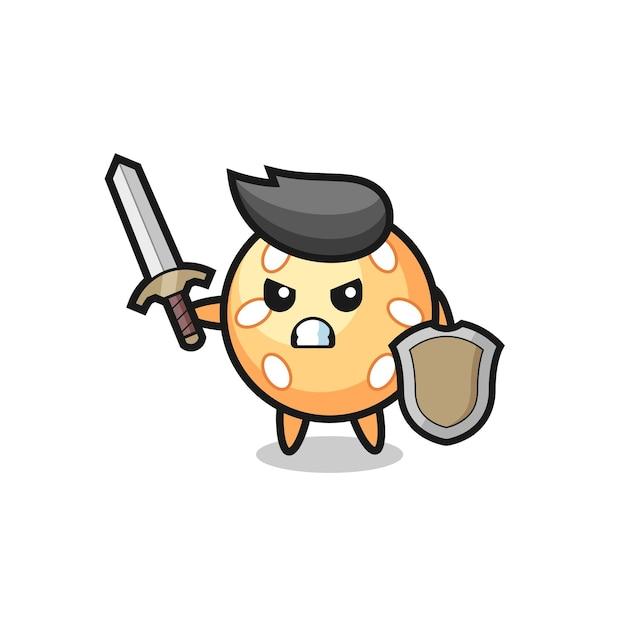 Süßer sesamballsoldat, der mit schwert und schild kämpft, süßes stildesign für t-shirt, aufkleber, logo-element
