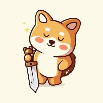 Süßer shiba-hund mit schwert in der hand