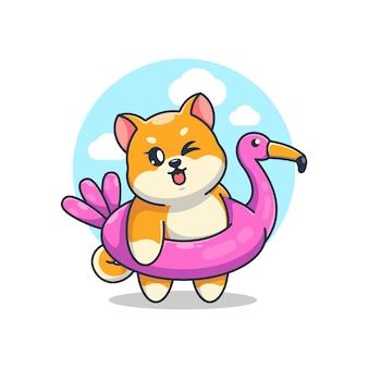 Süßer shiba inu hund mit flamingo schwimmring cartoon