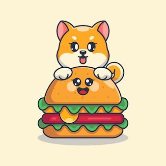 Süßer shiba-inu-hund mit großer käseburger-karikatur
