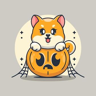 Süßer shiba inu hund mit kürbiskarikatur