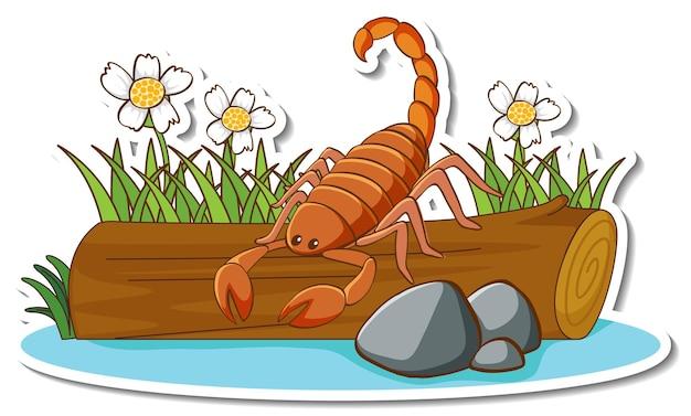Süßer skorpion, der auf einem baumstammaufkleber steht