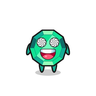 Süßer smaragd-edelstein-charakter mit hypnotisierten augen, süßes stildesign für t-shirt, aufkleber, logo-element