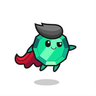Süßer smaragd-edelstein-superheld-charakter fliegt, süßes stildesign für t-shirt, aufkleber, logo-element