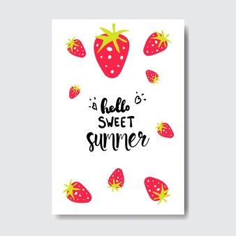 Süßer sommer erdbeerabzeichen