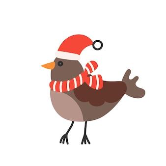 Süßer spatz in weihnachtsmütze und schal im flachen stil.