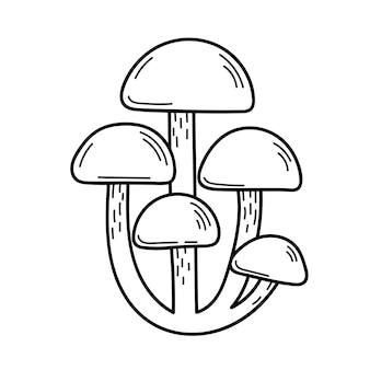 Süßer speisepilz im doodle-stil. zutaten zum kochen, salate. ernte der herbstpflanzen. vektor isolierte handgezeichnete illustration für malvorlagen, skizze, umriss
