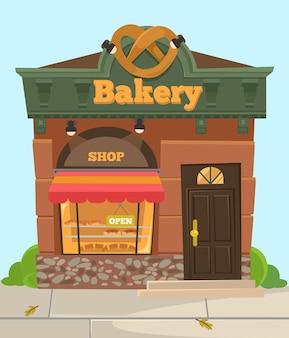 Süßer stadtladen der bäckereischokolade. vorderansicht. flache karikaturillustration