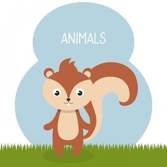 Süßer streifenhörnchen im feld landschaftscharakter