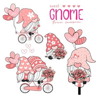 Süßer süßer gnom im rosa hut auf fahrrad mit herzballonsammlung, paarliebhaber-gnomliebes-valentinsgruß-element-satz