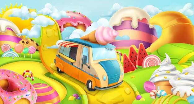 Süßer süßigkeitenlandillustrationshintergrund