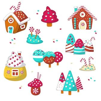 Süßer süßigkeitsikonensatz lokalisierte illustration
