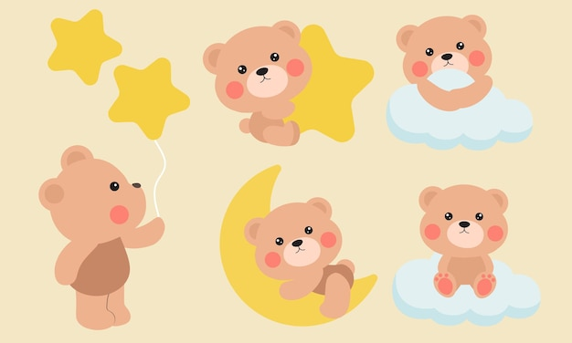 Süßer teddybär am himmel mit wolke