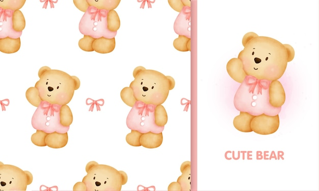 Süßer teddybär und grußkarte des nahtlosen musters