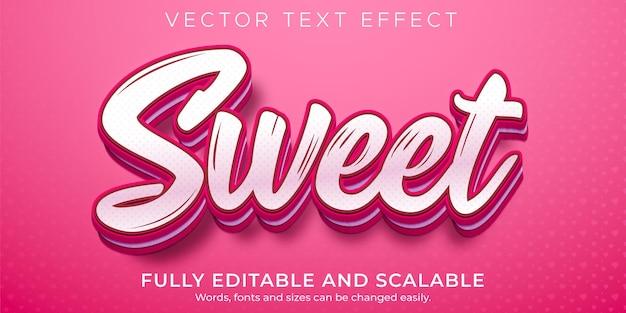 Süßer texteffekt, bearbeitbarer rosa und weicher textstil