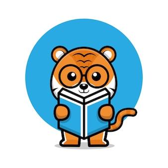 Süßer tiger, der eine buchkarikaturillustration liest