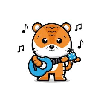 Süßer tiger, der gitarre karikaturillustration spielt