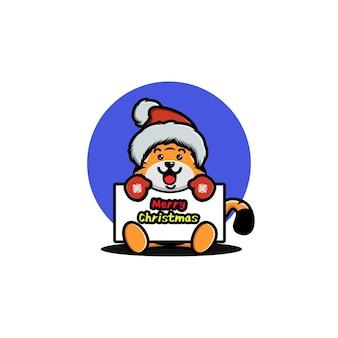 Süßer tiger, der weihnachten feiert