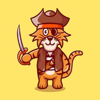 Süßer tiger im piraten-halloween-kostüm