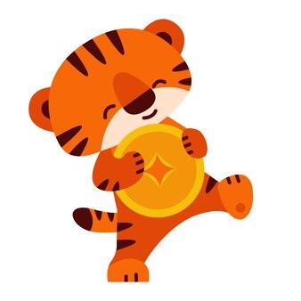 Süßer tiger mit einer goldmünze 2022 chinesisches neujahr vector illustration im cartoon-stil