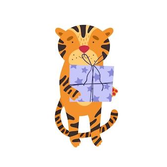 Süßer tiger mit weihnachtsgeschenken