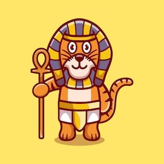 Süßer tiger-pharao mit einem stock