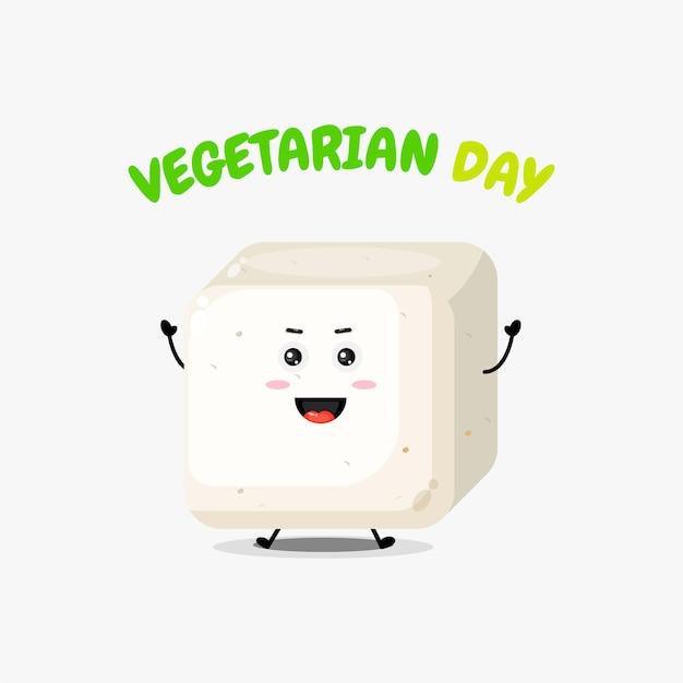 Süßer tofu-charakter am vegetarischen tag