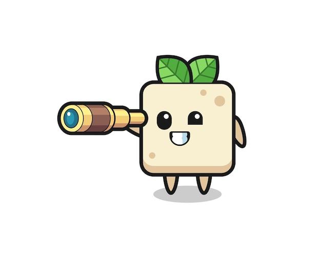 Süßer tofu-charakter hält ein altes teleskop, süßes design für t-shirt, aufkleber, logo-element