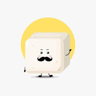 Süßer tofu-charakter mit schnurrbart