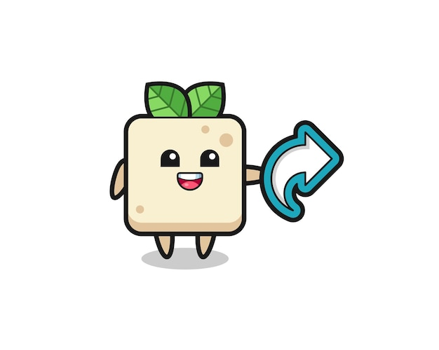 Süßer tofu hält social-media-share-symbol, niedliches design für t-shirt, aufkleber, logo-element