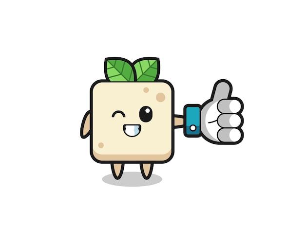 Süßer tofu mit social-media-daumen hoch symbol, süßes design für t-shirt, aufkleber, logo-element