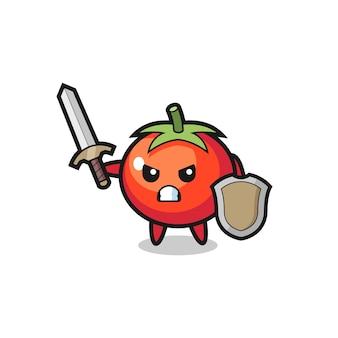 Süßer tomatensoldat, der mit schwert und schild kämpft, süßes stildesign für t-shirt, aufkleber, logo-element