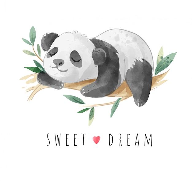 Süßer traum-slogan mit schlafender panda-illustration