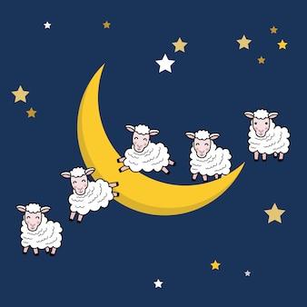 Süßer traum und gute nacht mit niedlichen schafen