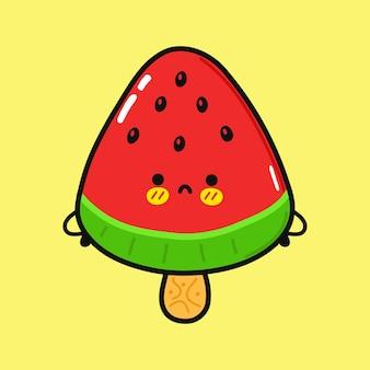 Süßer trauriger wassermelonen-eis-charakter