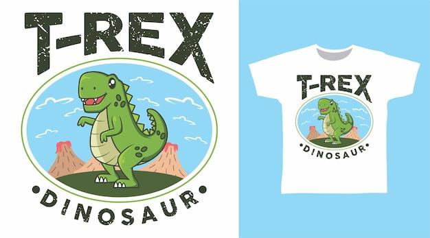 Süßer trex mit berg-t-shirt-design