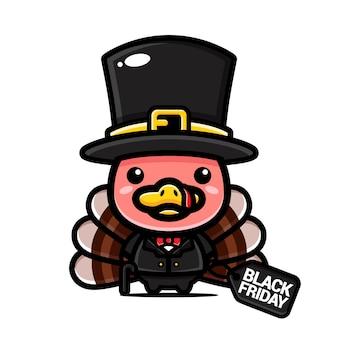 Süßer truthahnvogel mit schwarzem freitagsrabatt