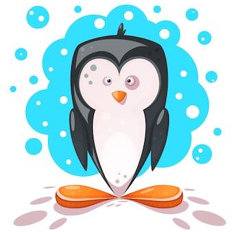 Süßer, verrückter pinguin