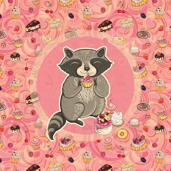 Süßer waschbär mit kuchen