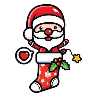 Süßer weihnachtsmann aus weihnachtssocken