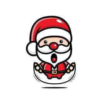 Süßer weihnachtsmann, der das überspringen spielt
