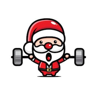 Süßer weihnachtsmann, der gewichte hebt hanteln