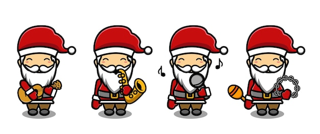 Süßer weihnachtsmann, der musikmaskottchen-cartoon-set spielt