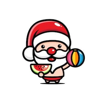 Süßer weihnachtsmann, der wassermelone isst