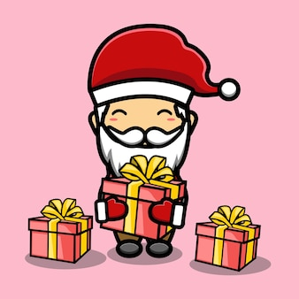 Süßer weihnachtsmann mit geschenken maskottchen cartoon
